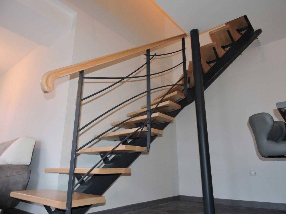 Escalier métal et bois – Réf LDA